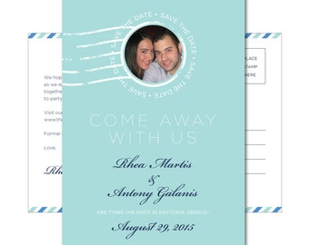 Wedding Save-the-Date Postcard with Photo - 4.25x6 - Come Away With Us - Printable and Personalized