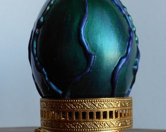 Dragon Egg, Emerald Green Dragon Egg with Iridescent Purple Veins (Weighted)