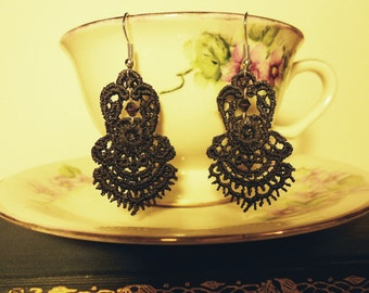 Black Lace Earrings with Iridescent Beads and Stainless Steel Hooks