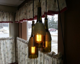 3 light wine bottle chandelier.