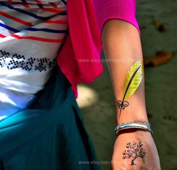 Tattoo Flash Wallpaper By Feathr: Temporary Tattoo Flash Gold Feather Tattoos Sticker Boho