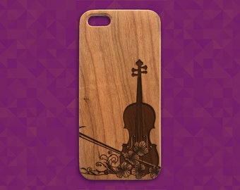 iPhone 5 Violin Case, Violin Engraved Wood iPhone Case, Instrument Design iphone 4/4s 5/5s 5C 6 cover, violin iphone 5 case