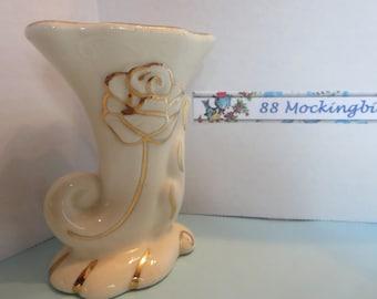 Vintage White and Gold Ceramic Vase