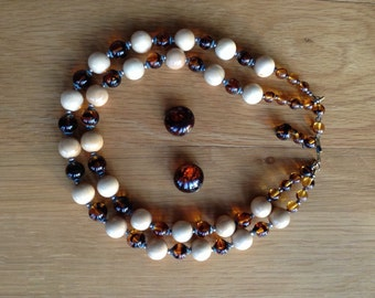 Vintage glass and wooden beads with earings