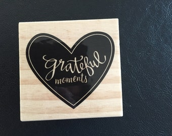Rubber Stamp, Wood Stamp, Heart, Grateful Moments, Scrapbooking, Card Making