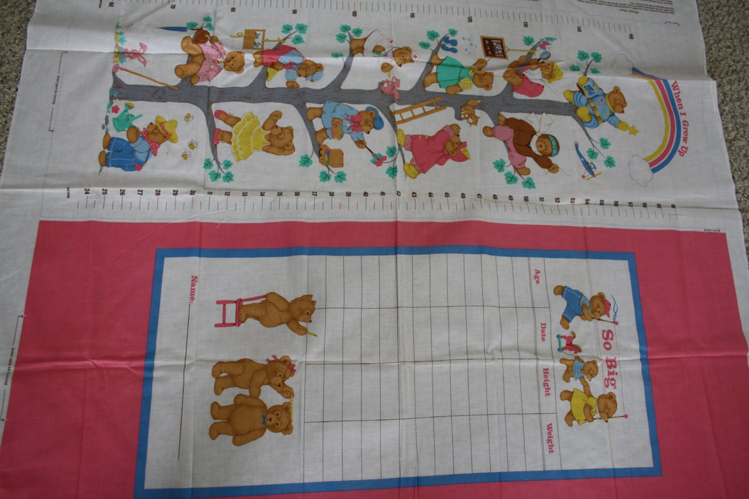 Growth chart fabric panel sewing pattern cut and sew record girls sold by vintagepatternsdepot geenschuldenfo Images