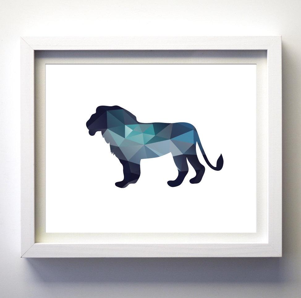 Navy Blue Wall Decor Nursery : Teal navy blue aqua wall art lion king print by