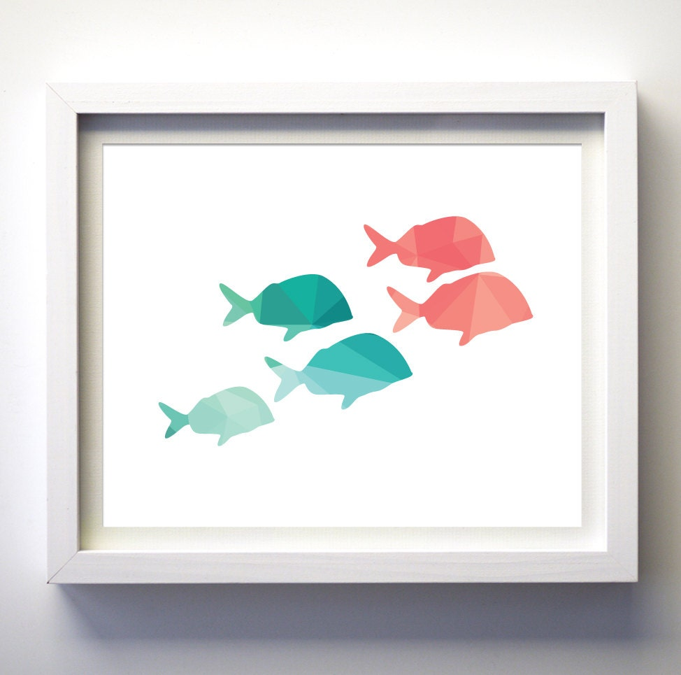 Teal And Coral Print Fish Turquoise And Coral Pink Art Print
