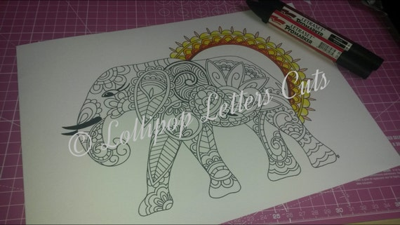 Adult colouring page paisley elephant for Paisley elephant coloring pages