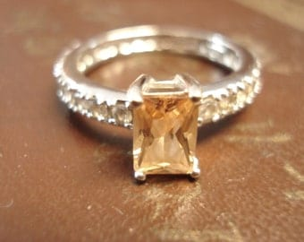 Sparkly and elegant vintage lab created citrine and cubic zirconia ring size 8