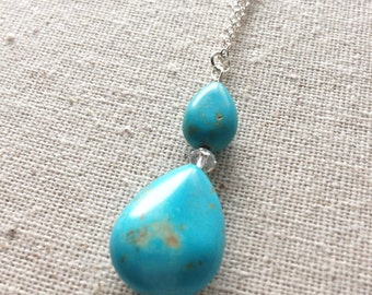 Turquoise Magnesite Necklace, Teal Blue Stones.