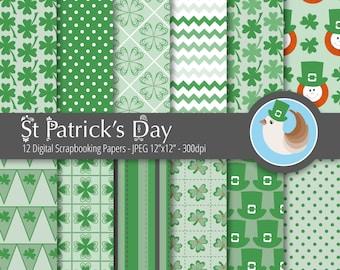 St Patrick's Day Digital Paper - Saint Patricks Day Digital Paper Set - Green Digital Paper - Set of 12 Digital Scrapbooking Papers