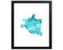 Turtle Painting, Nautical Nursery Art, Boys Bathroom Art, Kids Wall Art, Watercolor Painting, Crab Silhouette, Sea Life Theme, Ocean, NA031