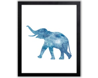 Blue Elephant Watercolor Animal Painting - Animal Art - Home Wall decor - Watercolor Art Print