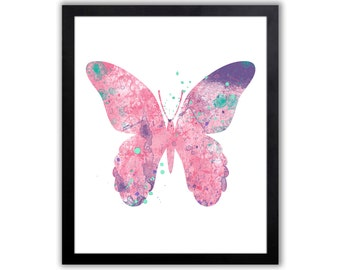 Watercolor Butterfly Art Print, Abstract Watercolor Butterfly, Butterfly Decor - BU001