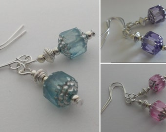 Czech glass cathedral bead earrings