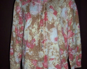 Multi color beige, pinks and cream floral cardigan with glass seed bead accents