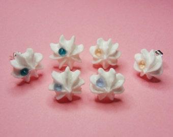 Cream Puff Earrings (Swarovski crystals)