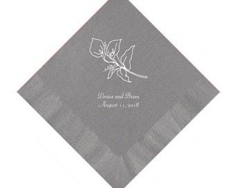 Calla Lily Wedding Napkins Personalized Set of 100 Napkins