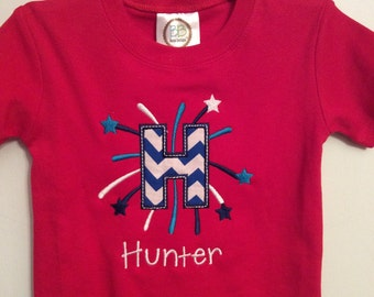 Starburst firework letter 4th of July / Fourth of July Shirt / 4th of July Shirt / Boy fourth of july / girl fourth of july