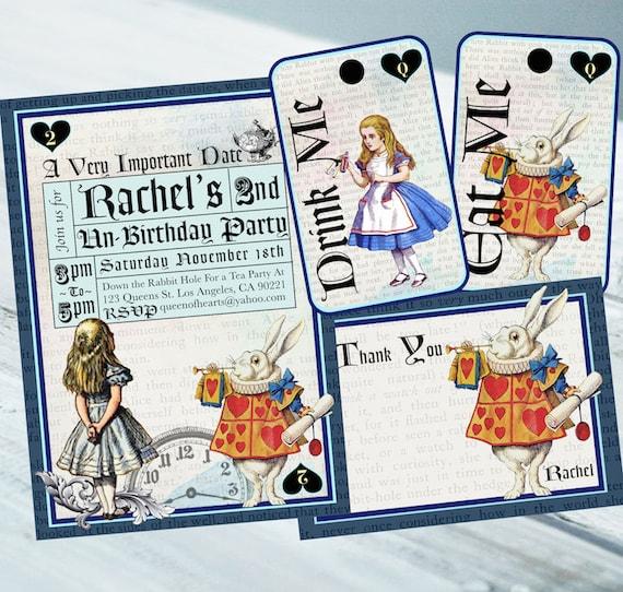 Articles similaires alice au pays des merveilles invitation carte de remerciement vintage - Anniversaire alice au pays des merveilles ...