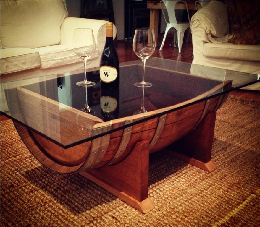 Oak Wine Barrel Coffee Table With Tempered Glass By
