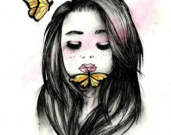 Print girl with butterflies
