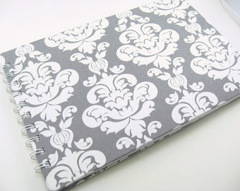 9 x 6 Wedding Guest Book, Wedding Gift, Damask Wedding Guestbook, gift for her, fabric covered, spiral bound book, lined paper