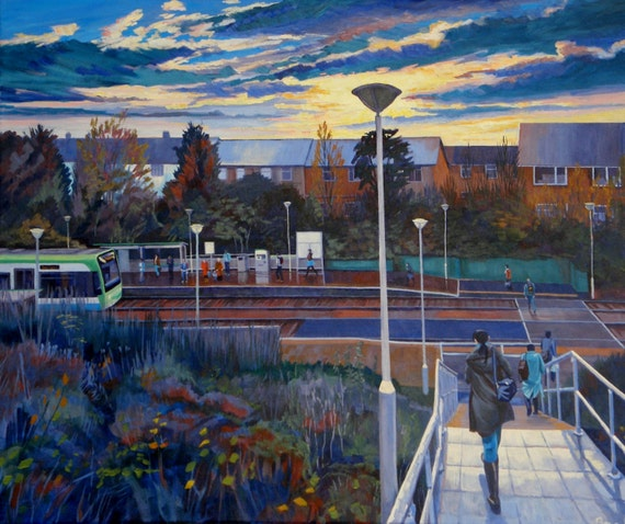 "Get It, 20X24"" Giclée print from a painting in Acrylic of a tram stop at sunrise"