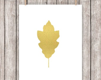 Gold Leaf Printable Art Print, Autumn, Fall, Home Decor, Printable Wall Art, 8 x 10 Instant Download