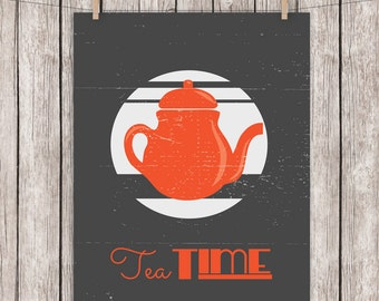 8x10 Printable Tea Typography Art Print Tea Time Quote Vintage Distressed Home Decor Wall Art, 8 x 10 Instant Download Digital File