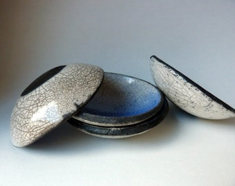 Made to order - Set of 4 small raku bowls, white, blue and black