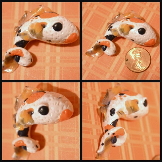 Koi fish polymer clay pendant fish necklace for Clay koi fish