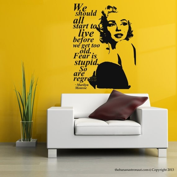 Short Marilyn Monroe Quotes: Marilyn Monroe Quote Regrets Wall Decal Stickers Decor