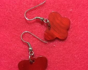 Red butterfly hook earrings
