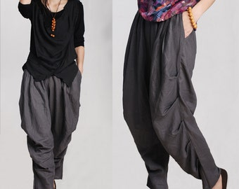 women's linen pants plus size/wide-legged pants/linen pants/Comfortable pants