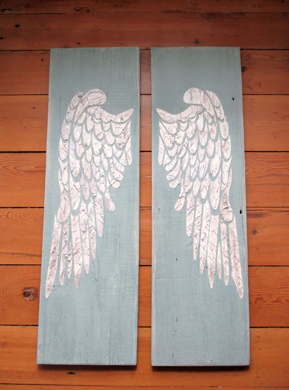 Angel wings large angel wings carved angel wing wall art for Angel wings wall decoration