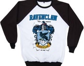 Ravenclaw Harry Potter Hogwarts Quidditch Team Festival Retro 2 Tones Jumper Sweater Sweatshirt Long Sleeve Crewneck Round neckline S M L