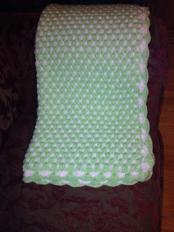 Double Sided Crochet Baby Blanket Pattern : REDUCED Crochet Baby Blanket. Two Sided. Green and White.