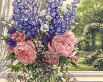 Peonies and Delphiniums Counted Cross Stitch Kit