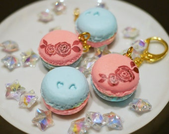 Light Pink and Blue Macarons Charms with Keychain
