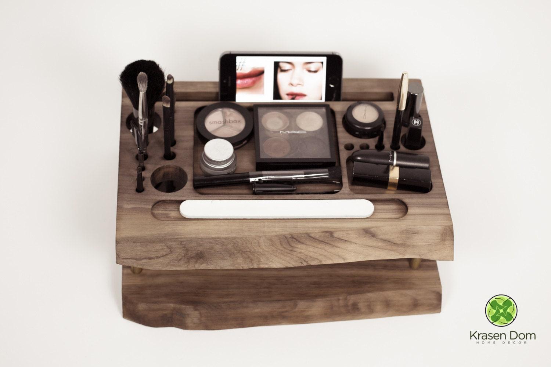 Wooden Makeup station beauty station makeup organizer by krasendom