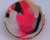 Colorful Pink, Black, White Marbled Clay Ring Dish/ Jewelry Holder/ Enagement Ring Holder/ Wedding gift/ Home Decor