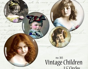 Vintage Children 1.5 Circles Digital Collage Sheet Photograph Instant Download Mixed Media Junk Jewelry Cabochon Bezel Pendant Images dcs383