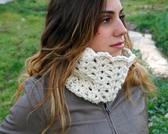 White chunky womens scarf, lacy crochet neck warmer, crochet cowl, infinity scarf MP008