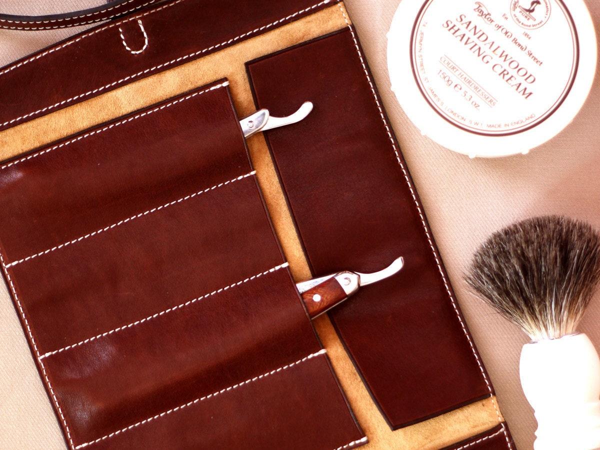 Buffalo Leather Razor Case Straight Razor Roll Case By