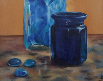 Original small oil painting of blue glass jar and bottle