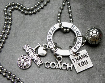 Soccer Coach Thank You Charm Necklace