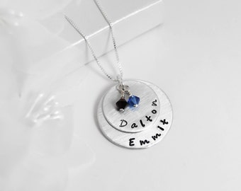 Personalized Mommy necklace, Layered with names and crystals