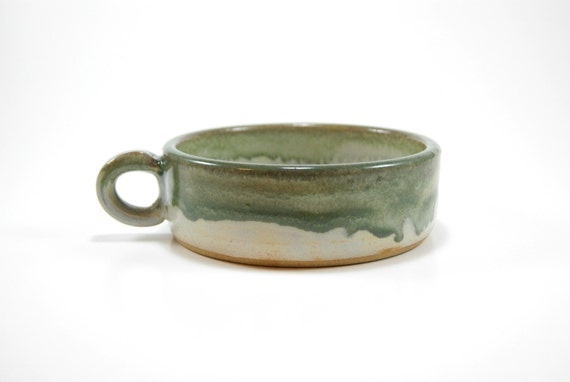 White and green cereal bowl with thumb handle - pottery cereal bowl - stoneware soup bowl - thumb grip bowl - bowl with handle - bowl set